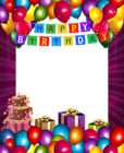 Happy Birthday with Balloons Transparent PNG Frame