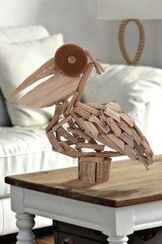 Wood Pelican - Natural by Coastal Decor on Coastal Living, Coastal Decor, Build My Own House, Driftwood Art, Driftwood Ideas, Couple Bed, Beach House Decor, Home Decor, Green Life