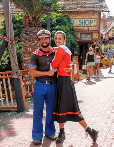 Popeye and Olive Oyl.  Popeye Village - a group of rustic and ramshackle wooden buildings located at Anchor Bay in Malta