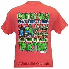 Girlie Girl Originals Tractor Coral Silk Adult Unisex Fit Short Sleeve T Shir | eBay