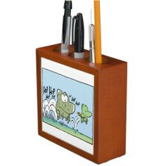 Great desk organizer for the frog lover! Has 2 different Swamp Frog images on front and back of this mahogany finished wood organizer. It's designed with three compartments to hold your pens and pencils. $40.95 from Swamp Cartoons Zazzle Store #cute #frog #zazzle #swampcartoons http://www.zazzle.com.au/business_frog_funny_cartoon_pencil_pen_holder-256084638119118483