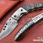 Damascus custom handmade hunting folding knife with sheep horn handle