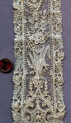 19th C. Point De Gaze Needle lace LAPPETS