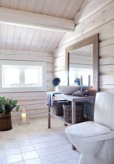 LYST: Baderommene harhvitbeisede vegger. Gulvet har sandsteinsfliser,og servantmøbelet og speileti oljet eik er bygget på stedet. Til venstrefor bildet er det dusjnisje og badstue, ogunder vinduet er det plass til badekar.