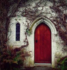 Love this door!  Love the entrance.  This looks a bit like a church entrance - I love the mystery.