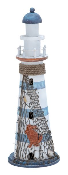 Wood Lighthouse in Marine Theme and Beautiful Colors. Features: High quality wood lighthouse piece Intricate details expertly designed Marine theme recreated Attractive colors to enhance decor  Description: This fascinating piece of art comes in the form of a miniature lighthouse that is sculpted with exquisite craftsmanship. The lighthouse sculpture can be proudly displayed in shelves and tables across the living room. Made of high quality wood, this lighthouse piece stays anew and strong…