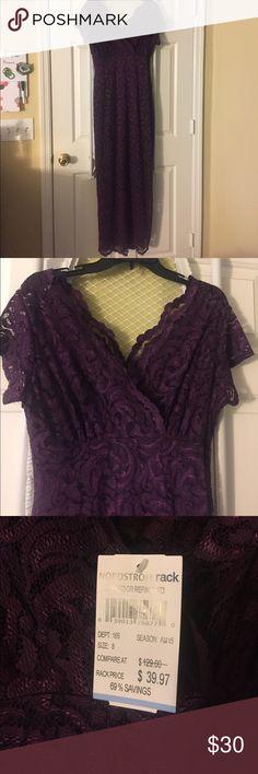 Long Lace Dress Never worn full length lace purple dress in great shape! 59in. Long Dresses Maxi