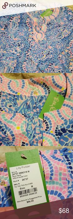 NWT Lilly Pulitzer Amelia Island Tunic Brand new Lilly Pulitzer Amelia Island Tunic. Tic Tac Tile All Over tunic. Size  medium. Lilly Pulitzer Tops Tunics