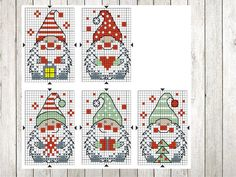 Biscornu Cross Stitch, Mini Cross Stitch, Cross Stitch Cards, Beaded Cross Stitch, Cross Stitching, Christmas Tree Ornaments To Make, Christmas Cross, Embroidery Art, Cross Stitch Embroidery