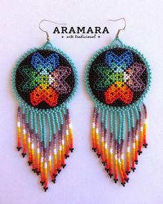 Mexican earrings, Mexican Jewelry, Huichol art, Huichol Earrings, Medallion earrings, Native america Seed Bead Earrings, Beaded Earrings, Beaded Jewelry, Crochet Earrings, Jewellery, Native American Earrings, Mexican Jewelry, Diy Craft Projects, Diy Crafts