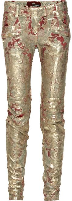 balmain-gold-metallic-coated-brocade-pants!!! meltdown style for winter 2012  dressmesweetiedarling