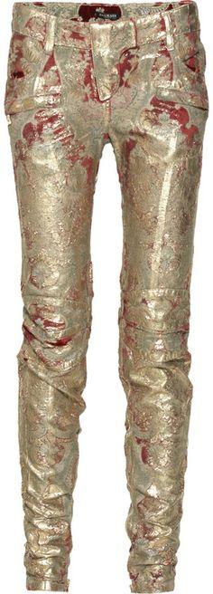 balmain-gold-metallic-coated-brocade-pants!!! meltdown style for winter 2012  dressmesweetiedarling