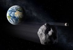 Artist view of an asteroid (with companion) passing near Earth. Credit: P. Carril / ESA