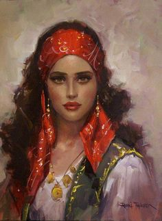 f Gypsy Seer Traveler portrait Santa Sara, Printable Poster, Image Blog, L'art Du Portrait, Gypsy Women, Gypsy Girls, Woman Painting, Female Art, Character Art