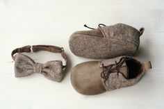 Genuine leather and wool baby shoesbrown di MartBabyAccessories