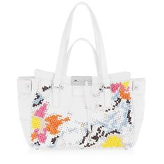 Jimmy Choo handbag FARRAH White Embroidered Leather Tote Bag with Crystals Bolso Cartera Blanco