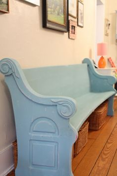 how to turn a church pew into a corner bench