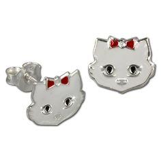 Tee-Wee stud-earring cat white enameled with red loop, 925 Sterling Silver…