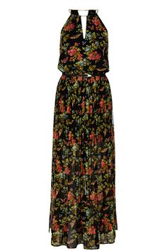 A stunning sleeveless maxi dress with a butterfly print to the body, a necklace neckline and a slightly sheer lower skirt.