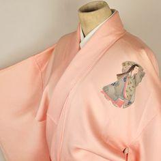 Tsukesage kimono / 【付け下げ】サーモンピンク地平安美人柄