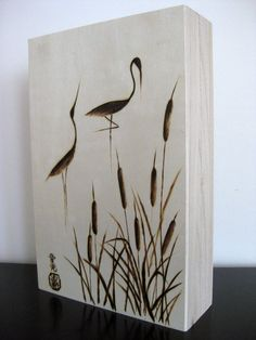 Woodburned Box with  Zen Cranes by FlowWithTheBrush on Etsy