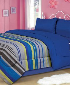 Take a look at this Blue Litebeam Comforter Set by Beatrice Home on #zulily today!