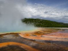 The Grand Prismatic Springs - The beautiful Grand Prismatic Springs in Yellowstone National Park. Photography by Breanne Adair