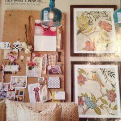 Burlap bulletin and framed prints