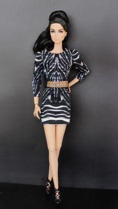 Galiana Designs Fashion Royalty doll Outfit Nu Face Dress belt bag clutch