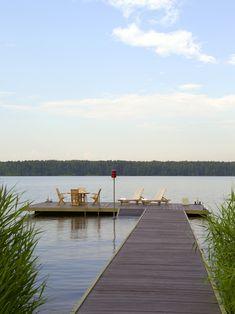 Lake Dock design ideas and photos to inspire your next home decor project or remodel. Check out Lake Dock photo galleries full of ideas for your home, apartment or office. Lake Dock, Boat Dock, Lake Landscaping, Dock Of The Bay, Floating Dock, Lakeside Living, Decks, Small Lake, Lake Cottage