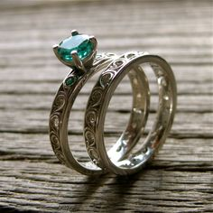 Handmade Emerald Engagement Ring & Wedding by AdziasJewelryAtelier, $1,345.00