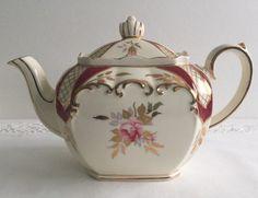 Large Rose Cube Sadler Teapot by NicerThanNewVintage on Etsy