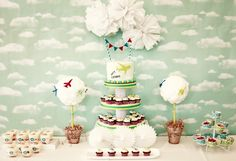 What an incredible airplane party dessert table! #airplane #party #desserttable