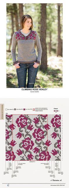 Пуловер спицами с жаккардовым узором (розы) | jacquard | Postila
