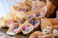 Wedding of Pumudi and Neil, February 2016  - bamboo cones of fresh pastel petals to toss at the ceremony.