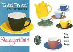 Tutti Frutti - Stavangerflint, designet av Inger Waage Have Board, Stavanger, Tutti Frutti, Designing Women, Scandinavian, Pottery, Mugs, Tableware, Norway