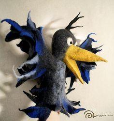 Ворона Перчаточная кукла Glove Puppets, Felt Puppets, Puppets For Kids, Bird Puppet, Marionette, Felt Mouse, Gifted Kids, Felt Animals, Fabric Dolls