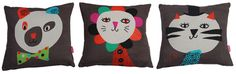 textiles, cushions, children's cushions, animal cushions, tiger cushion, bear cushion, lion cushion, Becky Baur, published by Bobby Rabbit