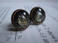 Black Dwarf - Earring studs - science jewelry - science earrings - galaxy jewelry - physics earrings - fake plugs - plug earrings