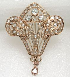 Antique Georgian Rose Cut Diamond Brooch