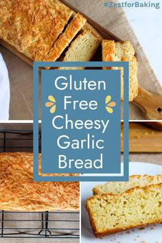 Sink your teeth into this Gluten Free Garlic Bread loaded with delicious Cheese! It's super quick and easy and goes perfectly with ANY meal! #zestforbaking #glutenfreegarlicbread #cheesybread