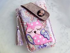 Patchworks Owl Mobile Phone Pouch-Samsung-HTC-V5 from Lily's Handmade - Desire 2 Handmade Gifts, Bags, Charms, Pouches, Cases, Purses by DaWanda.com