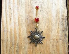 Carnelian Sun Belly Button Ring Navel Ring Dangle Belly