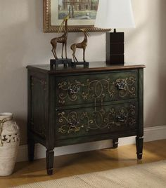 Traditional Antique Green Cabinet