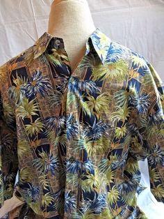 Tori Richard Shirt Large Hawaiian Camp Aloha Short Sleeve Button Front Palm Tree #ToriRichard #ButtonFront