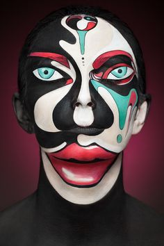 For a project entitled 2D Or Not 2D, Russian... | Archie McPhee's Endless Geyser of AWESOME! Russian photographer Valeriya Kutsan in collaboration with the make-up artist Valeriya Kutsan has created this series of modern-art inspired photos of models with their faces painted to appear as two-dimensional…