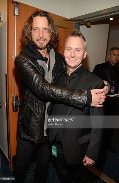 Musicians Chris Cornell (L) and Mike McCready attend the 28th Annual Rock and Roll Hall of Fame Induction Ceremony at Nokia Theatre L.A. Live on April 18, 2013 in Los Angeles, California.