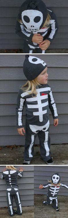 Skeleton Costume | Click for 30 DIY Halloween Costumes for Kids to Make | DIY Halloween Costumes for Toddlers
