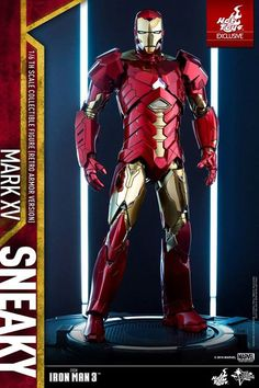 "With its built-in cloaking system, the Mark XV ""Sneaky"" armor is among the most unique armors in Tony Stark's ""House Party Protocol"" in Iron Man 3. Today Hot Toys offers a special inspired take on the armor, livening up the original's cool dark gray color scheme to give it the Iron Man classic red-and-gold finish which first appeared in the Iron Man 3 concept art of this armor.  The Retro Armor Version of the 1/6th scale Mark XV collectible figure has the same sleek form factor as the movie…"
