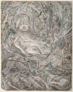 'Illustration to the Arthurian Legend: Guenever', by David Jones (British © The estate of David Jones David Jones Artist, Drawing Sketches, Drawings, Tate Gallery, Cubism, Illuminated Manuscript, Art Boards, Art Images, Landscape Paintings